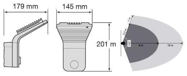 Габарити і радіус дії Hager EE610